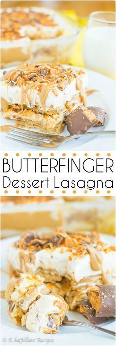This Butterfinger Dessert Lasagna is a simple, no-bake indulgence with layers of Nutter Butter cookies, butterscotch pudding, peanut butter cheesecake mousse, and crushed Butterfingers | A baJillian Recipes