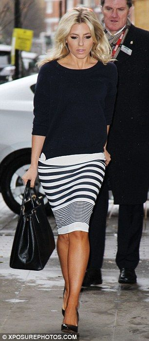 Earning their stripes: Mollie King and Frankie Sandford co-ordinated their outfits on Saturday in London