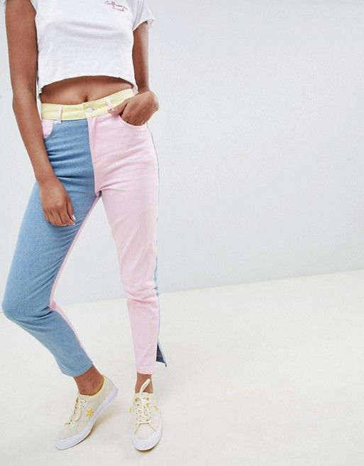 81407aebf Hello Kitty x ASOS DESIGN color block jeans with embroidery detail ...