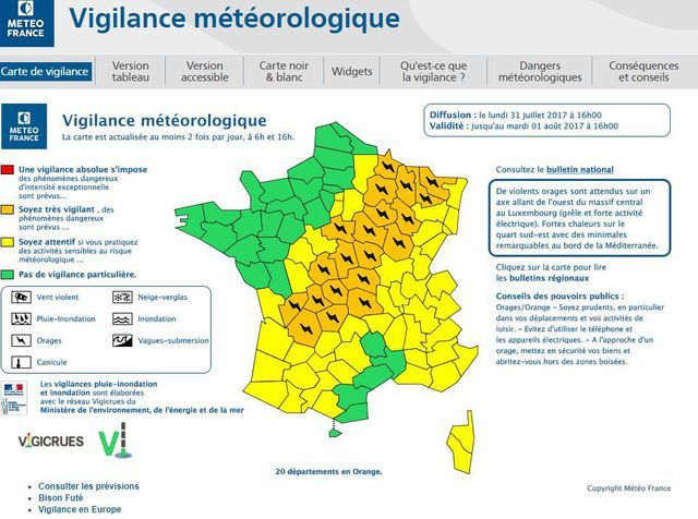 Météo France a placé 20 départements en alerte orange aux orages.