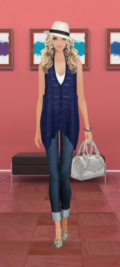 Look styled in Covet Fashion Eric Javits Hat, Dannijo Earrings, Twenty V-Neck T-Shirt, Cut25 Yigal Azrouel Vest, Black Orchid Jeans, Dalla Nonna Bracelet, Botkier Handbag, Joie Flats