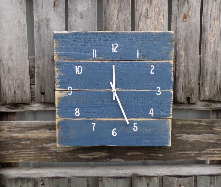 Nautical Clock, Rustic Beach Clock, Primitive Wood Clock, Navy Blue Clock, Shabby Nautical Clock, Pallet Clock, Rustic Wood Clock by ThePalletDoctor on Etsy https://www.etsy.com/listing/239815554/nautical-clock-rustic-beach-clock