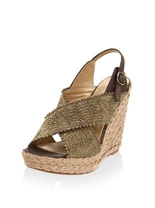 55% OFF Stuart Weitzman Women's Toogood Wedge Sandal (Swamp Wrinkle Raffia)