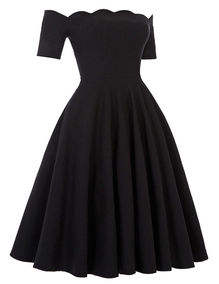 Off The Shoulder Retro Rockabilly Party Dress - Vintage Inspired Life