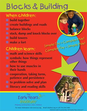 Blocks and Building Poster. For more Play pins visit: http://pinterest.com/kinderooacademy/learning-through-play/ ≈ ≈