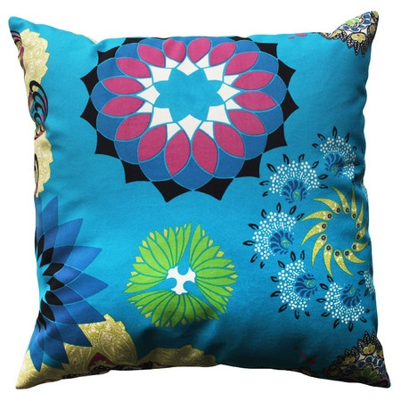 Bring a chic pop of style to your living room or master suite with this eye-catching pillow, showcasing an exotic motif and bold color palette.   ...