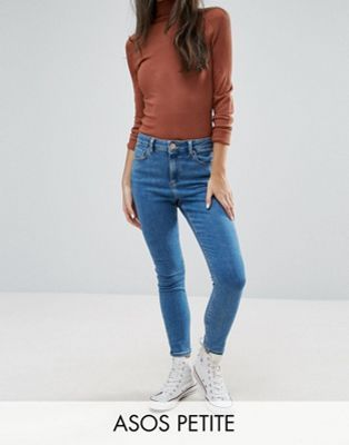 ASOS PETITE RIDLEY Ankle Grazer Jeans in Lily Wash