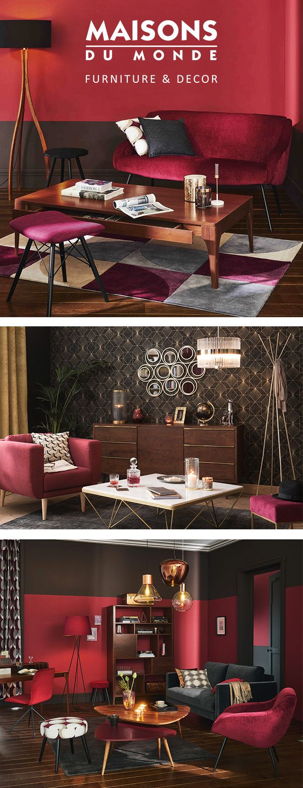 Pump Up The Glam With A Vintage Twist! Rich and luxurious, our plush Burgundy collection is definitely one to salivate over.  Tailored furniture, walnut woods and glistening metals give an alluring appeal to this wintery twist on vintage style | Maisons du Monde