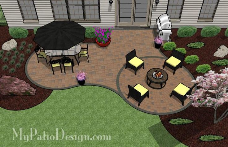 Nice little curvy patio design. I like having plants close to the house and not solid concrete or pavers. This fits the bill nicely.