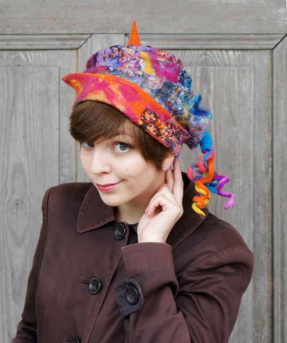 Unique fancy felted hat designer hat with tip and by filcAlki