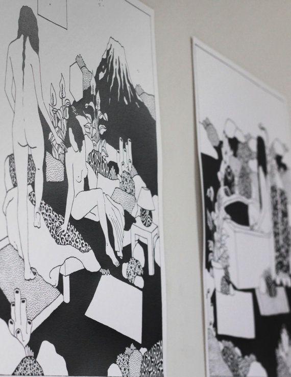 Triptyque  Anne-Sophie Lacombe  Affiche par CapsuleFactory sur Etsy