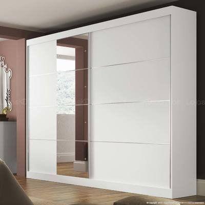 Guarda-roupa 2 Portas de Correr com Espelho Capri Branco - Manto Móveis