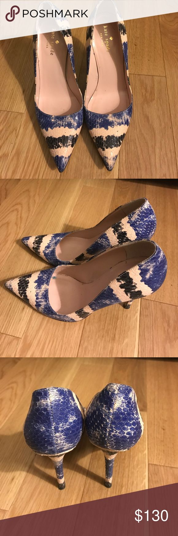 Kate Spade New York 4 inch leather heels size 6 B. Beautiful pair of Kate Spade stilettos.  This is one fun multi colored leather shoe.  The colors in the shoe include blue cream and black. kate spade Shoes Heels