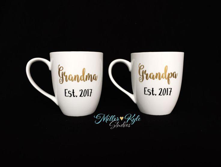 Personalized Grandma and Grandpa Coffee Mugs (2 mugs) - Grandparents Gift - Pregnancy Reveal - New Grandparents Gift - New Parents Gift by MillerKyleStudios on Etsy https://www.etsy.com/listing/463397941/personalized-grandma-and-grandpa-coffee