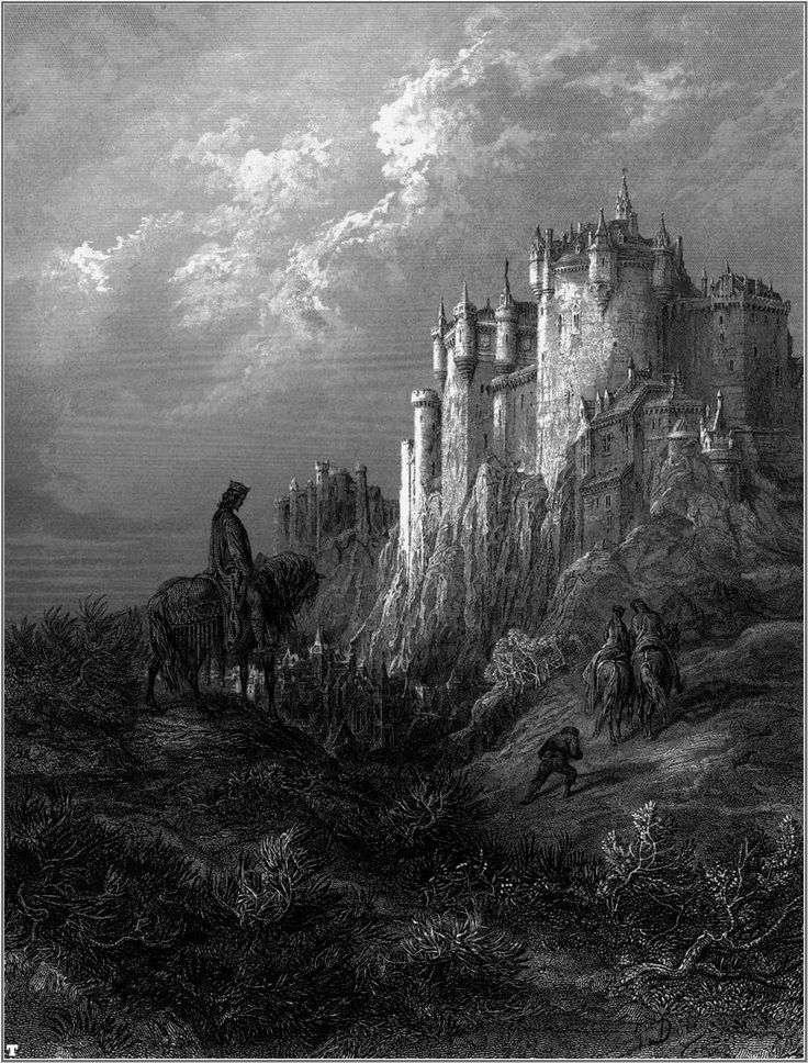 """Camelot, by Gustave Doré. 1868. Painted for """"Idylls of the King"""" by Lord Alfred Tennyson."""