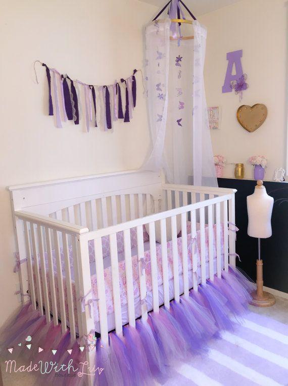 Pretty Purples and Lavender Tutu Crib Skirt by MadeWithLuvBowtique