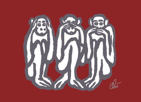 JACQUELINE DITT- Wise Monkeys Red  ltd.sign.Grafik im Rahmen 13x18 cm Drei Affen