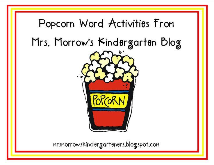 Popcorn Words: Popcorn Words, Words Games, Kindergartens, Words Work, Sight Words Activities, Homeschool Reading, Classroom Ideas, Free Downloads, Morrow Kindergarten