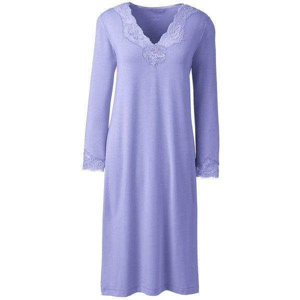 Lands' End Women's Petite 3/4 Sleeve Knee Length Nightgown ($45) ❤ liked on Polyvore featuring intimates, sleepwear, nightgowns, purple, petite nightgown, lands' end, petite sleepwear, lands end nightgown and purple nightgown