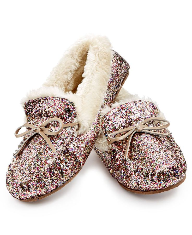 Cozy and cute, she'll live in these INC International Concepts glitter slippers well past the holiday season. Great for lounging or even running errands. Shop now!
