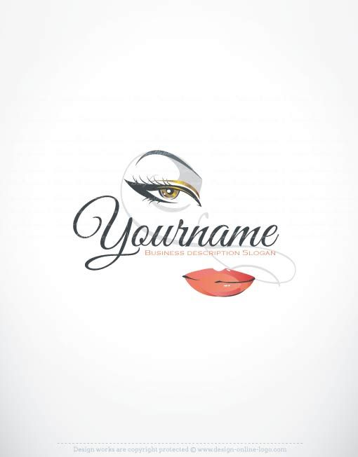 Exclusive Logos Store - Makeup Logo design. Ready made Online Makeup Logo design for sale with woman's face With beautiful hair and make-up