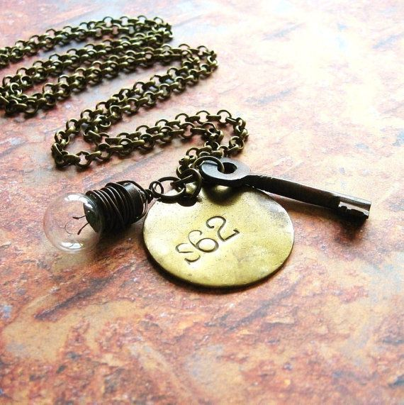 Key and Tag  Handmade Unisex Necklace with Antique by ComeDayGoDay