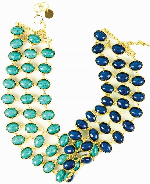 Sleek - Double Sided necklace. One Necklace, Two Ways!  The Sleek necklace gives you two different looks in one: a sophisticated, beachy style, or formal evening wear. The split personality gold-toned necklace features three tiers of turquoise stones on one side, and royal blue jewels on the other. With this large, yet lightweight piece, you'll be prepared for anything. http://www.byariane.com.au/Sistaco-Sleek