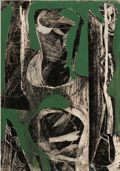 Fossil, 1952 by Peter Lanyon (British, 1918-1964) offset drawing with oil on paper, Gillian Jason Gallery, London.