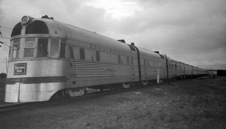 "aryburn-trains:  "" CB&Q train, engine number 9904 + additional diesel units, engine type EMC  Train #10, Denver Zephyr, 10 cars, 37 MPH. Photographed: leaving Denver, Colo., May 25, 1937.  """