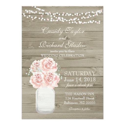 Rustic Wedding Invitations   Mason Jar Blush Peony