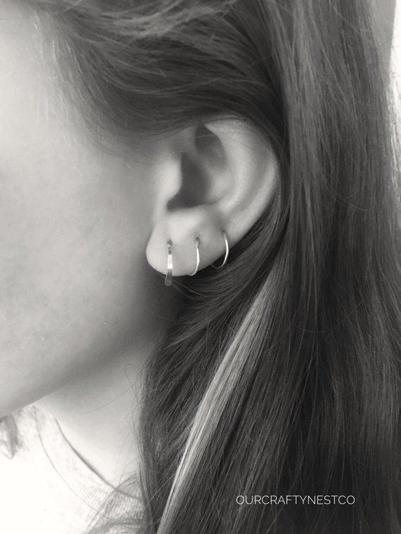 925 Sterling Silver 7 Row Demi éternité Hoop Stud Post Earrings
