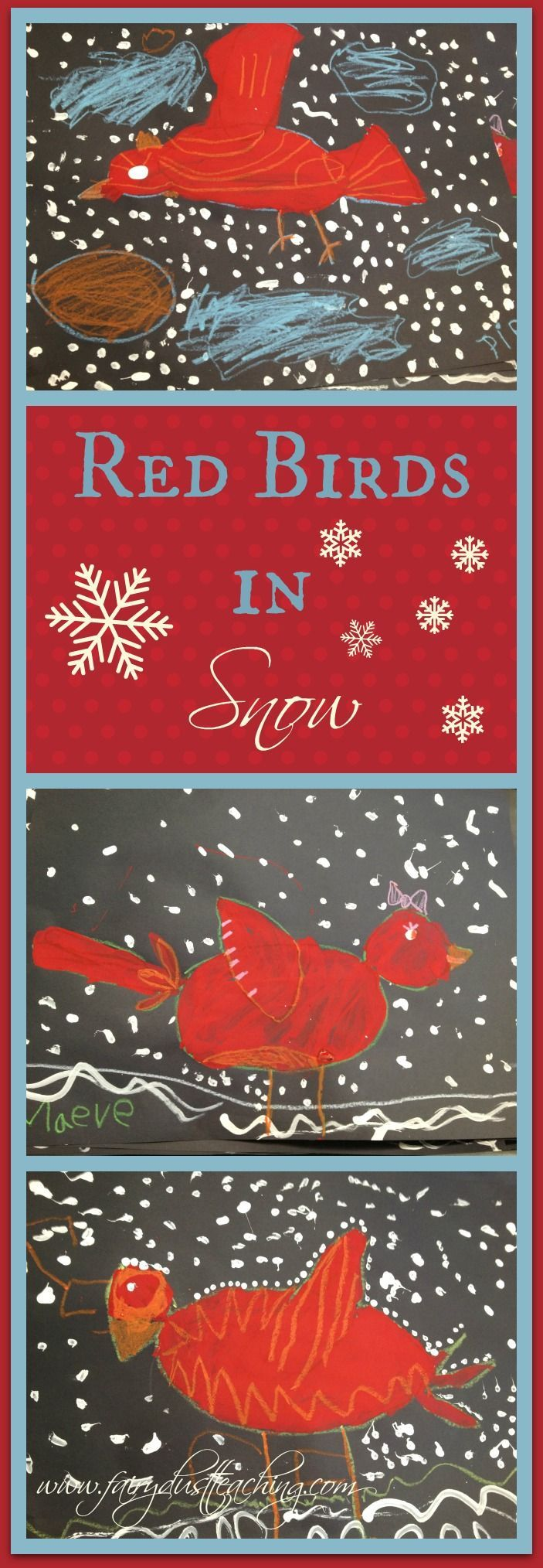 Red Birds in Snow Art Project! Get the step-by-step at www.fairydustteaching.com!