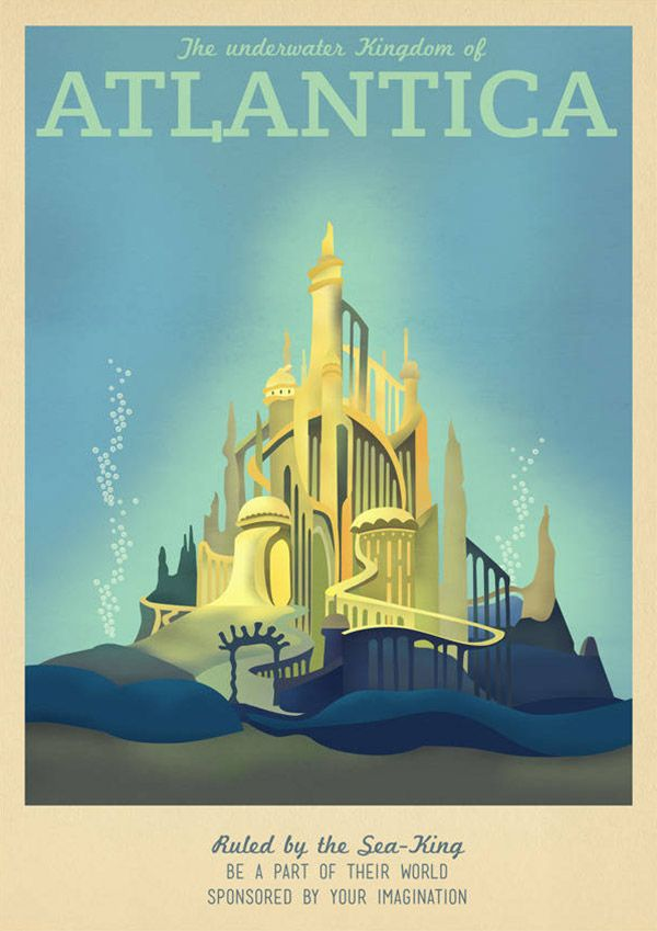 Atlantica Disney Travel Poster by TeacupPiranha