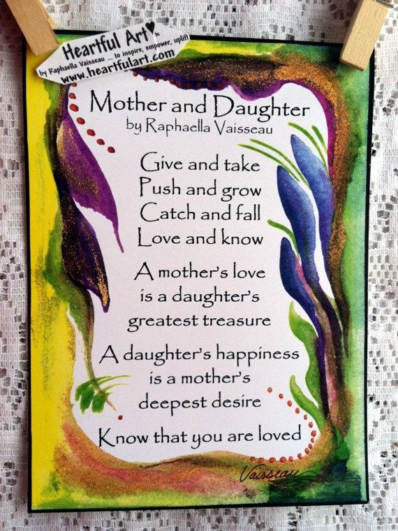 MOTHER DAUGHTER POEM 5x7 Quotation Words Family Wall Sayings Heartful Art by Raphaella Vaisseau
