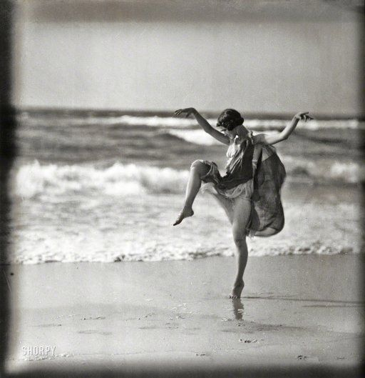 "Long Beach, Long Island, New York, circa 1921. ""Anna (Denzel) Duncan dancing."" One of the ""Isadorables,"" as Isadora Duncan's German proteges were known. Glass transparency by Arnold Genthe."