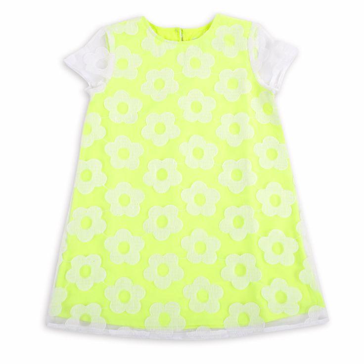 Vestido EPK para niña, en color amarillo neón con flores.