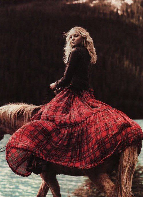 plaid Supreme.....absolutely supreme.  The bold stare, the honey coat of the horse, the billowing GORGEOUS long skirt in red plaid, the long blonde hair of the girl, the flowing water in the background....this is a masterful photo!!