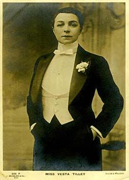 Real life music hall masher, Vesta Tilley -- find out more about her by clicking the image to read a marvellous article on the wonderful world of male impersonators.
