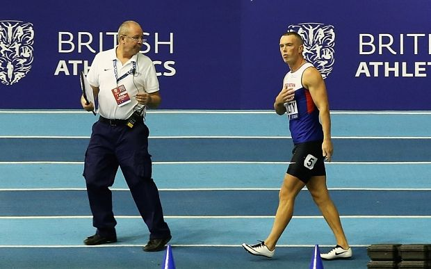 Disqualified Richard Kilty blames the size of the start blocks World champion fails to get automatic spot for the 60m, as Dasaolu, Philip and Pozzi win national indoor titles