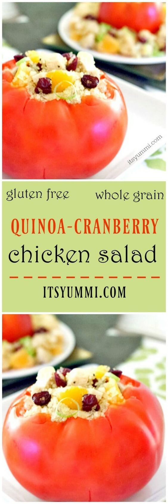 Quinoa cranberry chicken salad has tender chicken breast and protein-packed quinoa. With oranges, cranberries, and an Asian vinaigrette.