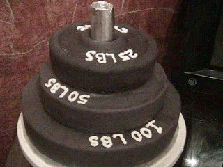 weightlifting stacks grooms cake | This was a fun creation!