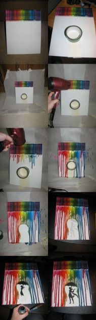 I have always wanted to create this melted crayon craft with a little umbrella and a person in the middle.