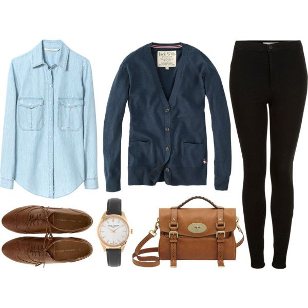 Blue by hanaglatison on Polyvore featuring Jack Wills, Zara, Topshop, Dorothy Perkins, Mulberry, J.Crew, navy, cardigan, shirt and blue
