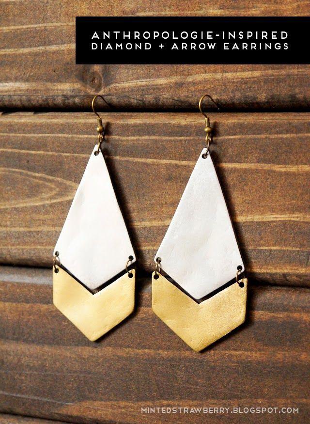 DIY Anthropologie-Inspired Diamond + Arrow Earrings Tutorial by mintedstrawberry.blogspot.com