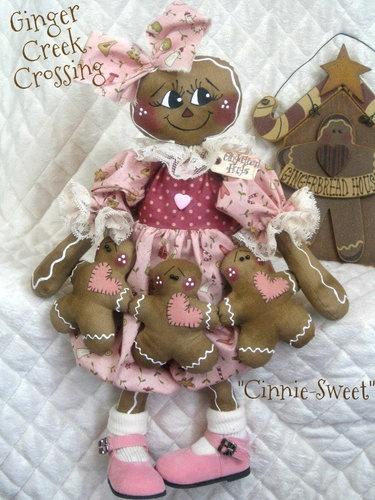 "Primitive Gingerbread Doll ""Cinnie Sweet"" w Ginger Ornie Garland Pattern 75 | eBay"