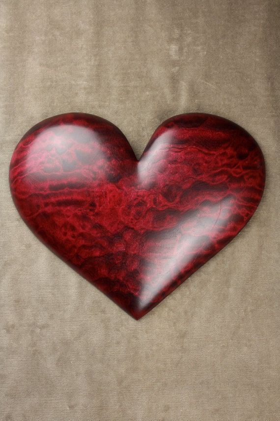 Heart personalized red wood carving Wedding by TreeWizWoodCarvings