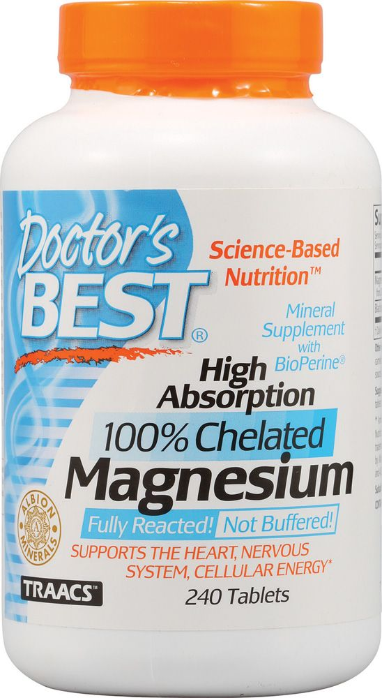 Doctor's Best High Absorption 100% Chelated Magnesium ..Supports the heart, nervous system, cellular energy. High Absorption Magnesium contains elemental magnesium chelated with the amino acids glycine and lysine. As an essential dietary mineral, magnesium plays many important roles which include: