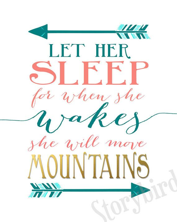 Teal, aqua, coral and faux gold foil - Gorgeous nursery colors! . Two very popular sayings for a little girls bedroom on a white background. And though she be but little she is fierce. Let her sleep for when she wakes she will move mountains. Quotes from Shakespeare and Napoleon Bonaparte. Available in any sizes or contact me for a custom size. Perfect for a nursery or kids room!  This set comes in many colors listed in my shop but if you want custom colors, please see this listing…