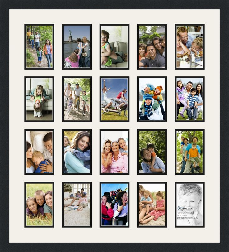 large collage picture frames for sale   Satin Black Collage Picture Frame with 20 4x6 Opening s Double Matted ...