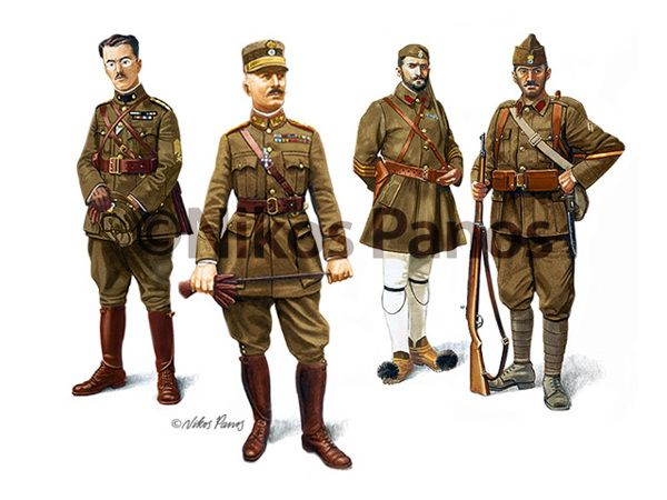 """HELLENIC (GREEK) ARMY UNIFORMS, 1915-1924 by Nikos Panos, via Behance GREEK ARMY UNIFORMS (1915-1924) World War One from left to right: Artillery Captain (Nikolakopoulos) Major General (Trikoupis) """"Evzone"""" Rifles Staff Sergeant (Pappaipanides) Infantry Corporal"""